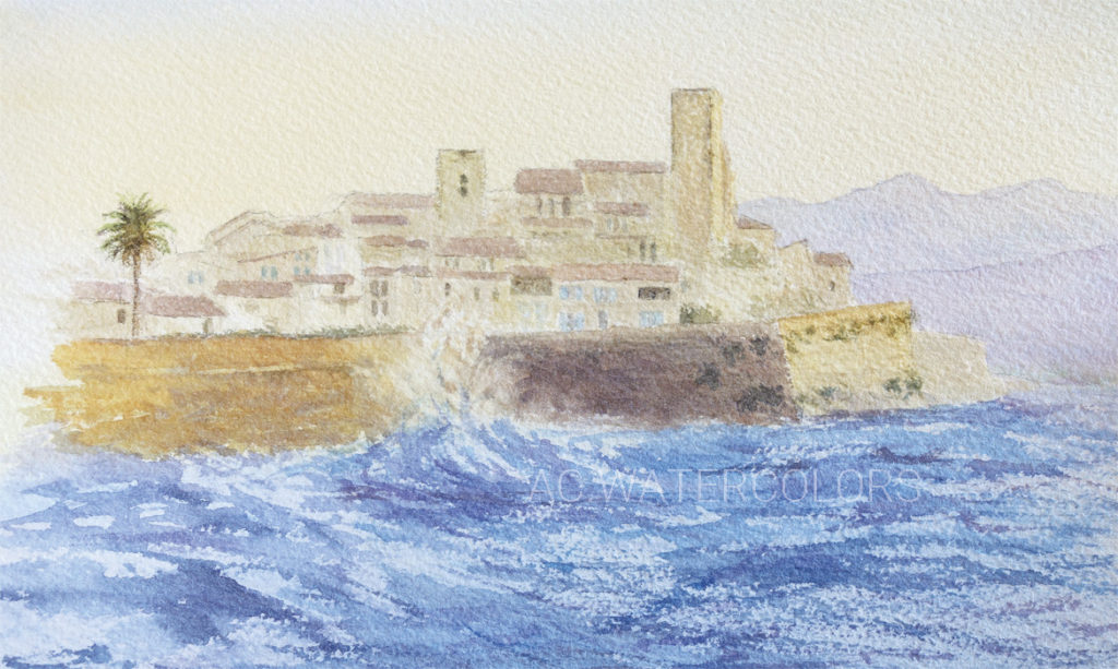 ACWATERCOLORS Aquarelle de la vielle ville d'Antibes